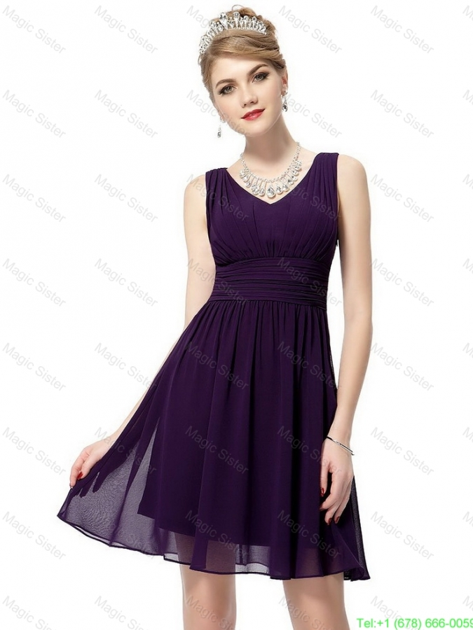 Beautiful V Neck Dark Purple Prom Dresses with Ruching for 2016