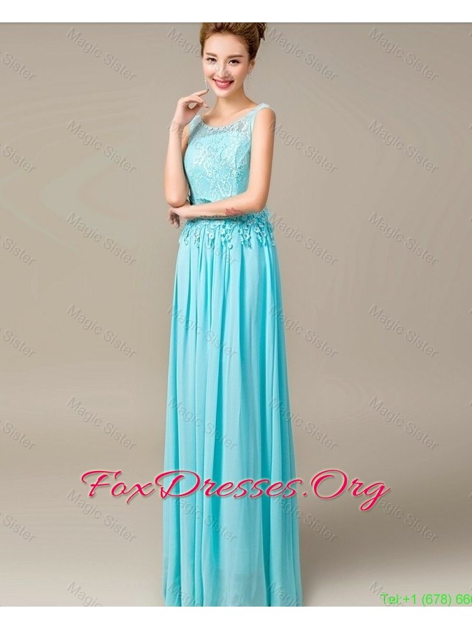 2016 Discount Lace Up Appliques and Laced Prom Dresses in Aqua Blue