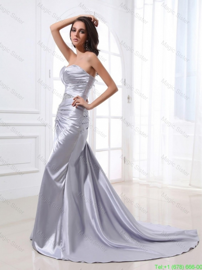 2016 Popular Mermaid Sweetheart Brush Train Sequins Prom Dresses