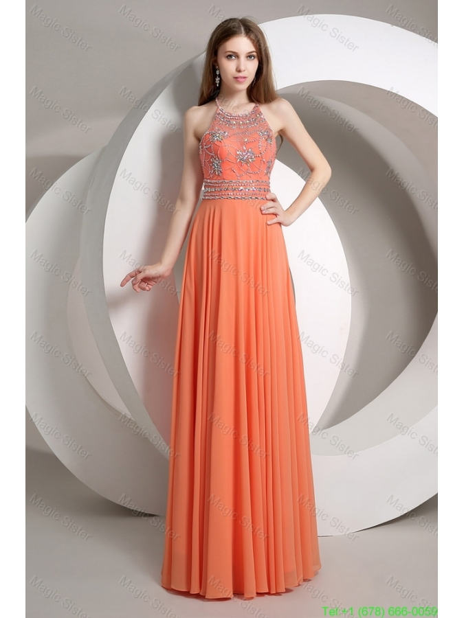 Elegant Beaded Empire Orange Prom Dresses with Halter Top