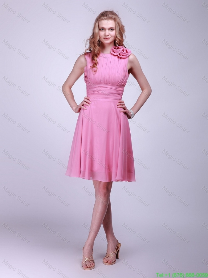 Gorgeous Rose Pink Prom Dresses with Pleats and Hand Made Flowers for 2016