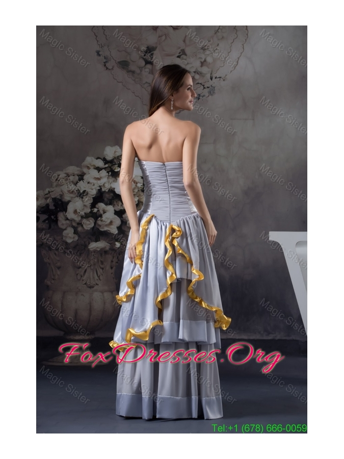 Beaded and Ruched Grey Prom Celebrity Dress with Ruffled Layers