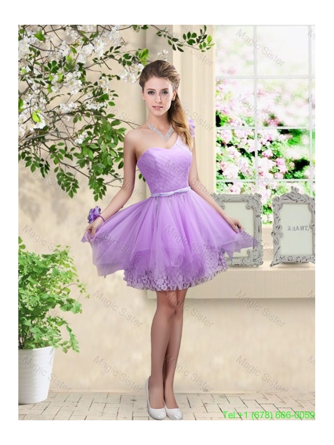 Discount Short One Shoulder Bridesmaid Dresses with Hand Made Flowers