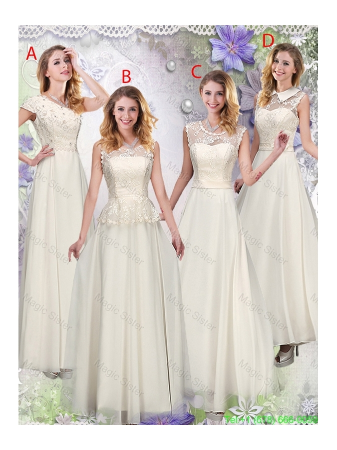 Feminine Champagne Laced Bridesmaid Dresses with Appliques