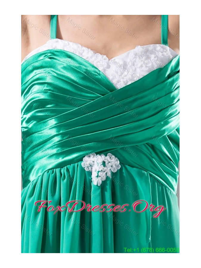 Spaghetti Straps Hand Made Flowers and Ruffles Sweep Train Prom Gowns