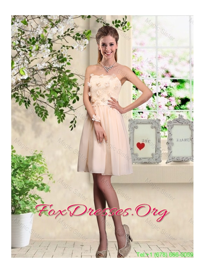 Cheap A Line Scoop Champagne Bridesmaid Dresses with Appliques