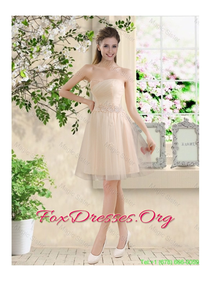 Comfortable Strapless Champagne Bridesmaid Dresses with Knee Length