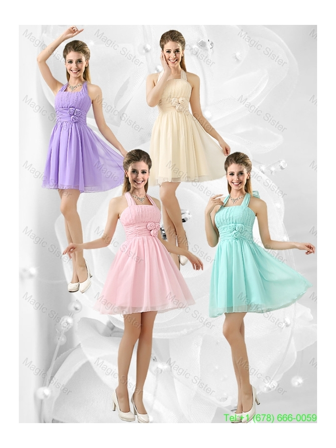 Modern Halter Top Champagne Bridesmaid Dresses with Hand Made Flowers