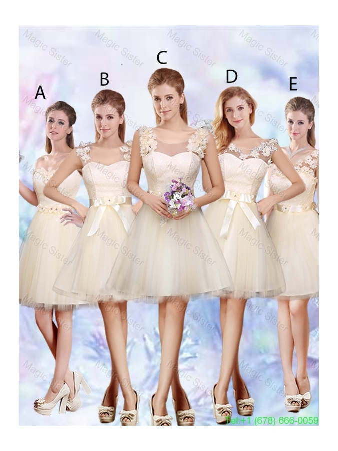 Popular A Line Champagne Bridesmaid Dresses with Appliques and Belt