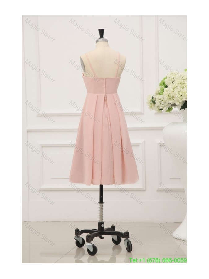 Baby Pink Spaghetti Straps Chiffon Bridesmaide Cocktail Dress