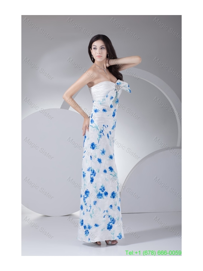 Floral Print Sweetheart Ankle-length White Prom Dress with Bowknot