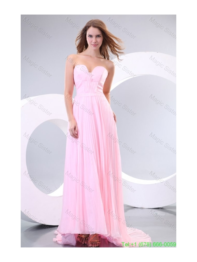 Sweetheart Empire Baby Pink High-low Pleats Bridesmaide Dress with Train