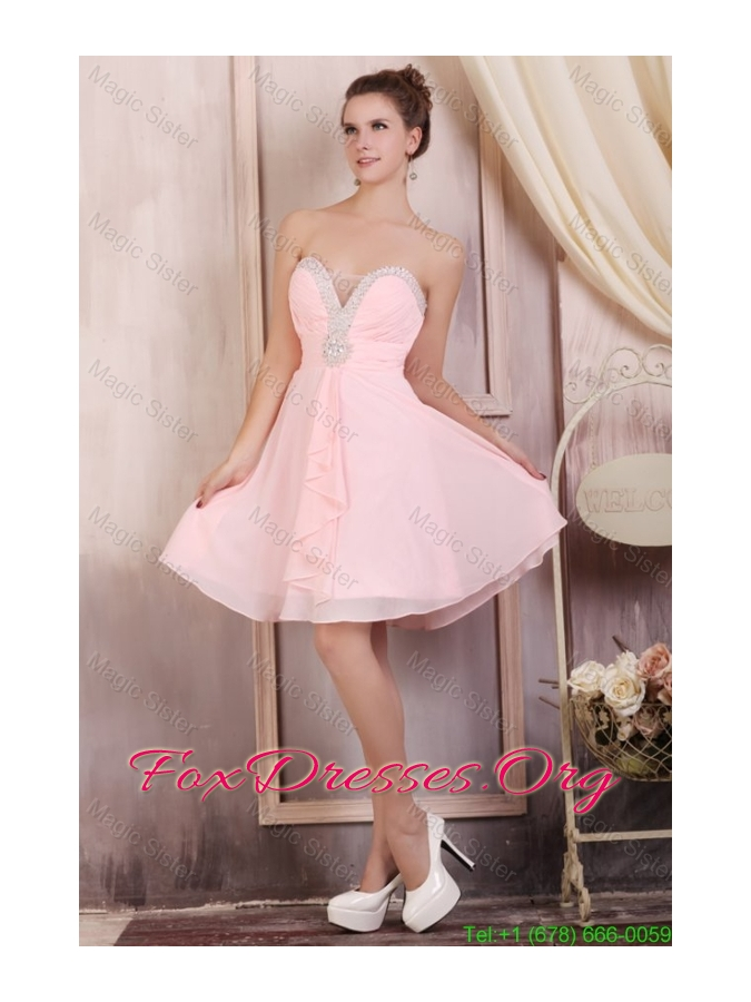 Baby Pink Empire Sweetheart Short Bridesmaide Dress with Beading