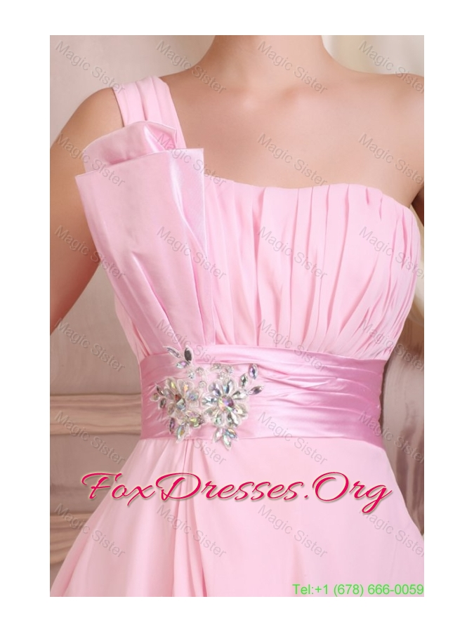 Baby Pink Strapless Short Mini-length Bridesmaide Dress with Beading