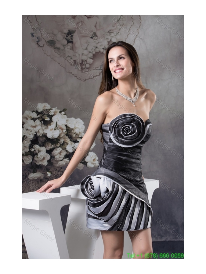 Rolling Flowers and Ruching Accent Mini-length Prom Cocktail Dress