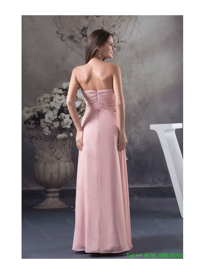 Baby Pink Sweetheart Ankle-length Bridesmaide Dress with Beading for Party