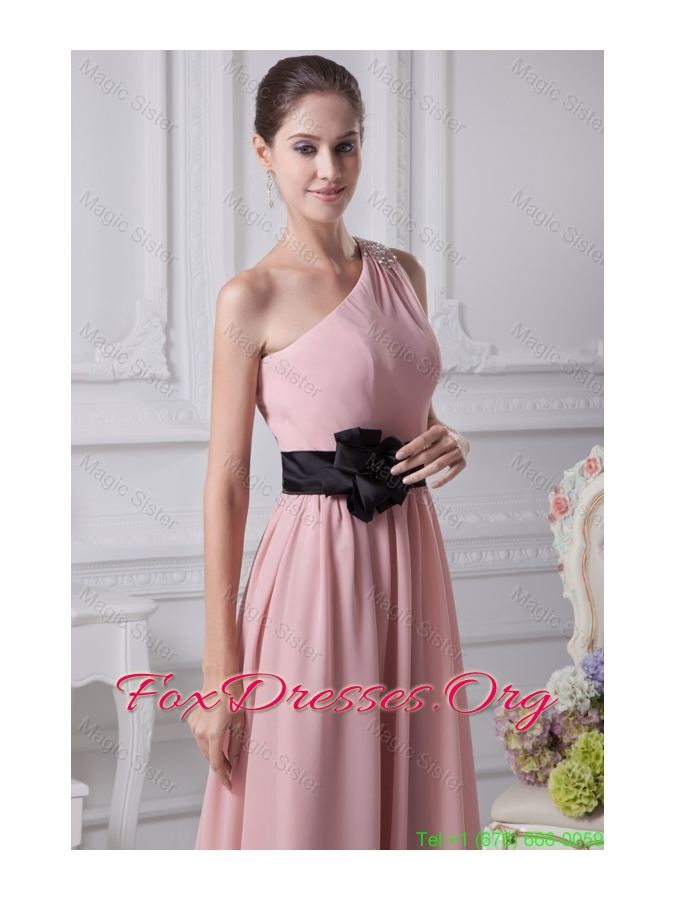 Beaded One Shoulder Ankle-length Bridesmaide Gowns with Flower Ribbon