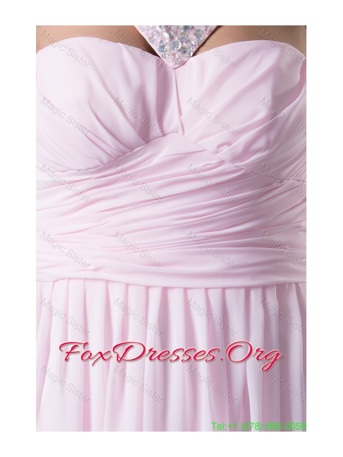 Beaded V-neck Ruched Pink Bridesmaide Holiday Dress with Side Zipper