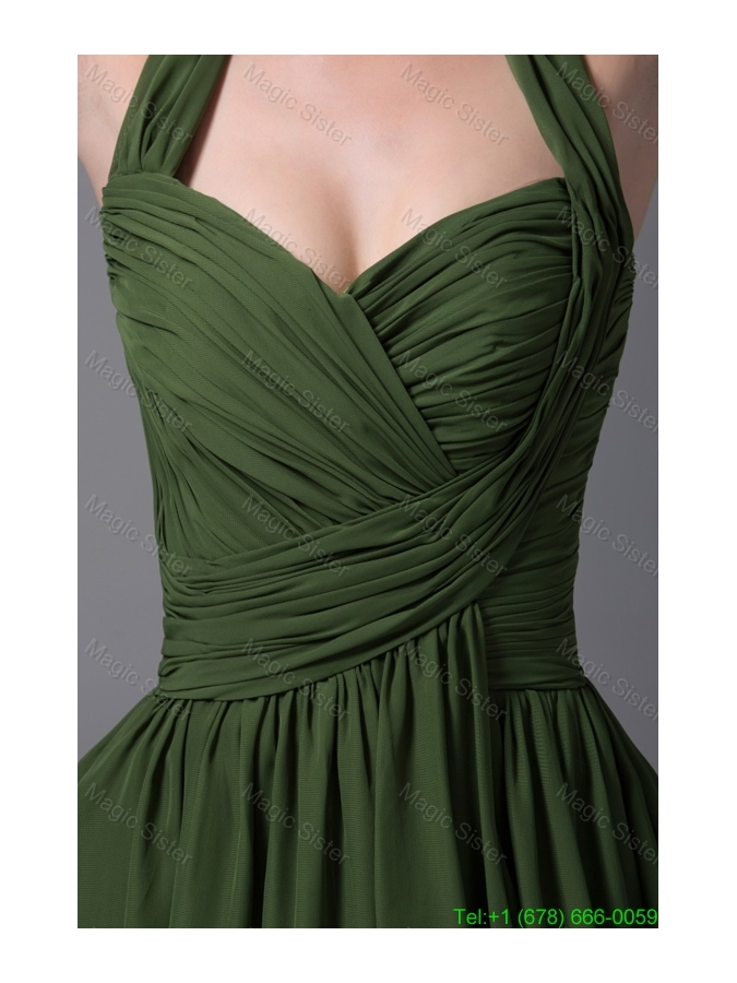 Brand New Halter Top Ruched Dark Green Bridesmaide Party Dress