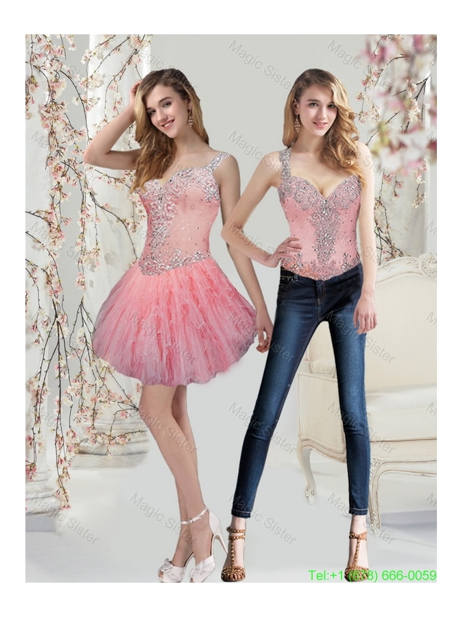Detachable Watermelon Prom Dress with Beading and Ruffles for 2015