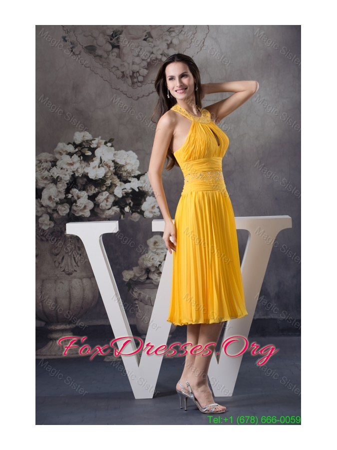 Yellow Column Knee-length Bridesmaide Dress with Beading and Keyhole