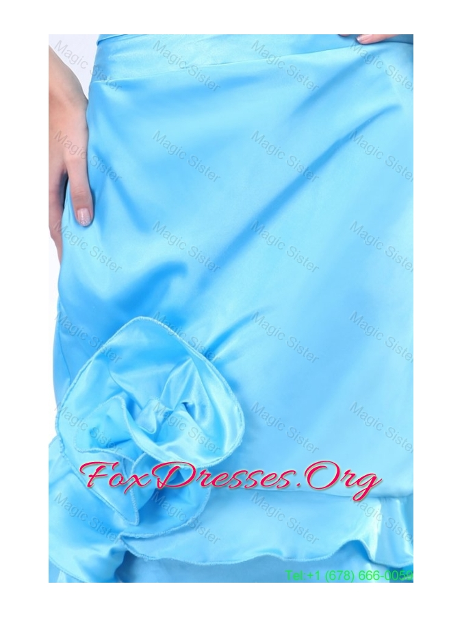 Baby Blue Halter Top Ruching Hand Made Flowers Prom Dress