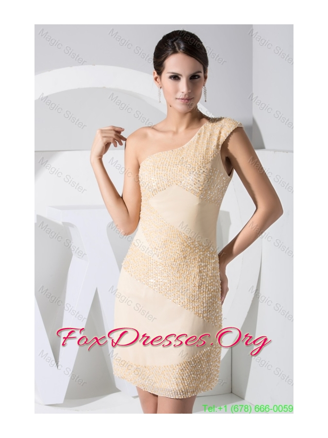 Beading One Shoulder Sheath Knee-length Back Out Prom Dresses
