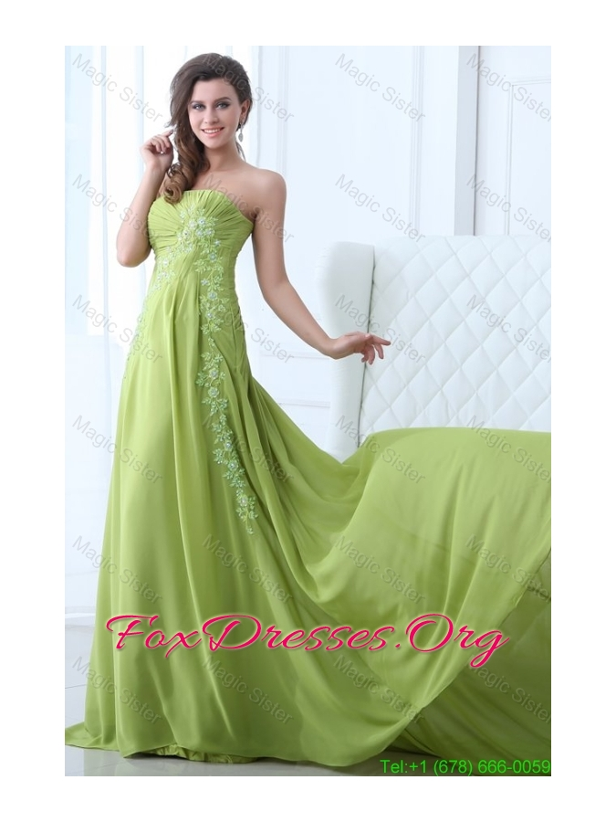 Empire Strapless Spring Green Appliques and Ruching Prom Dress