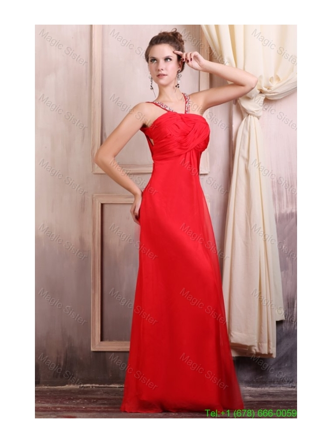 Beaded Decorate Straps Chiffon Long Red Prom Dress with Ruche