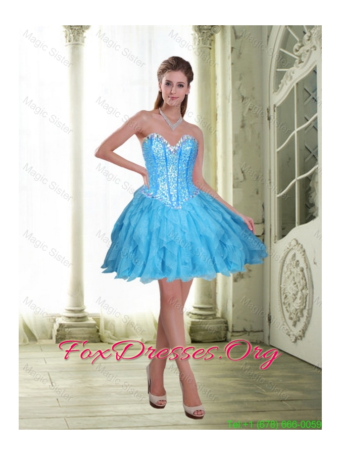 2015 Elegant Short Beading and Ruffles Baby Blue Prom Dress
