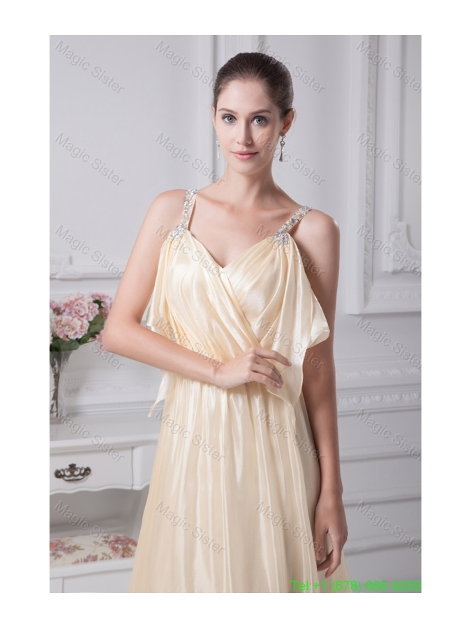 Beading Straps Column Ankle Length Champagne Prom Dress