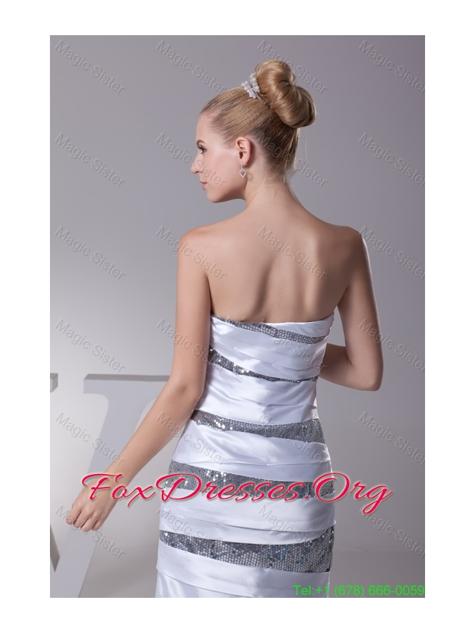 Zexy Mini-leng Strapless Sheath Prom Gown in Silver with Sequins