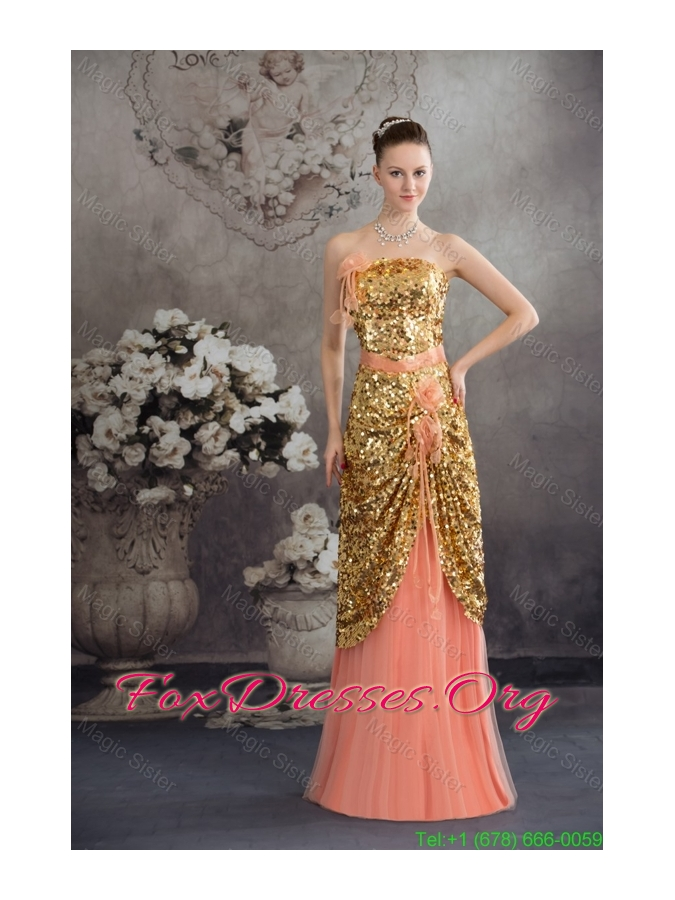 Beautiful Gold Paillette and Flowers Accent Prom Celebrity Dress in ...