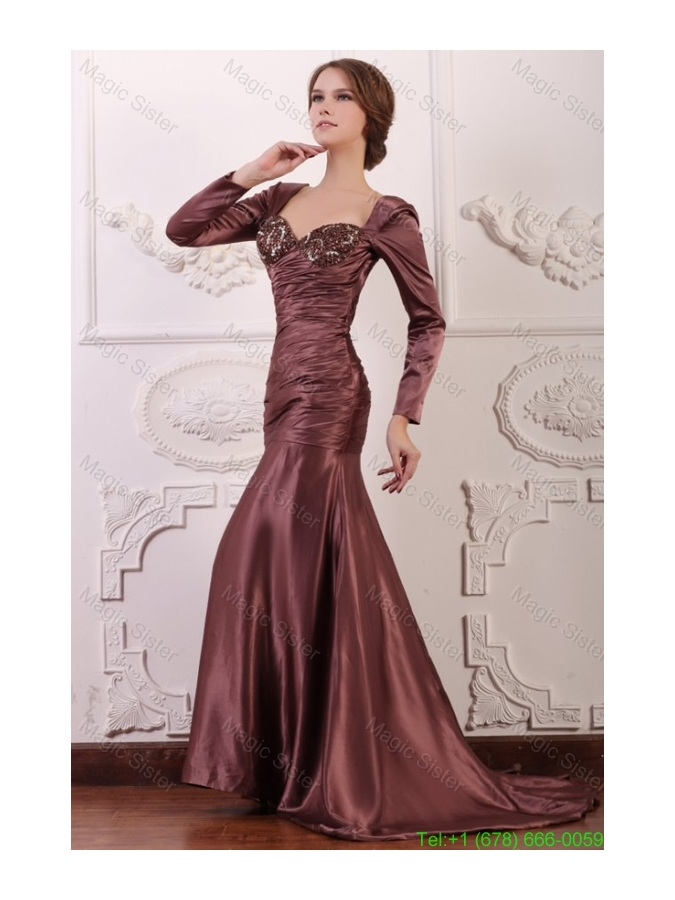 Appliqued Burgundy Column Square Mother of the Bride Dress with Long Sleeves