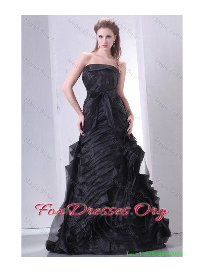 Black A Line Strapless Mother of the Bride Dress with Layers and Sash