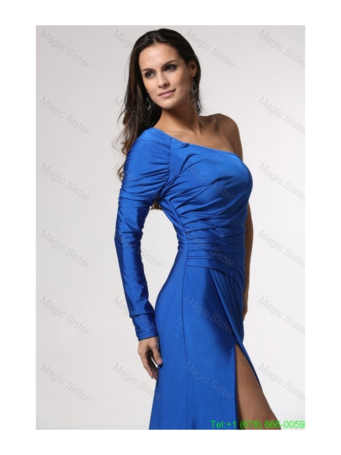 Blue Long Sleeve One Shoulder Mother of the Bride Dress with High Slit