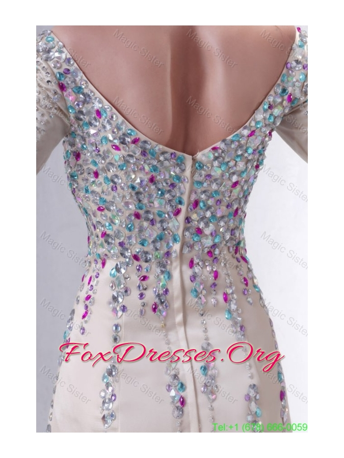 Champagne Off The Shoulder Column Beading Mother of the Bride Dress with Long Sleeves