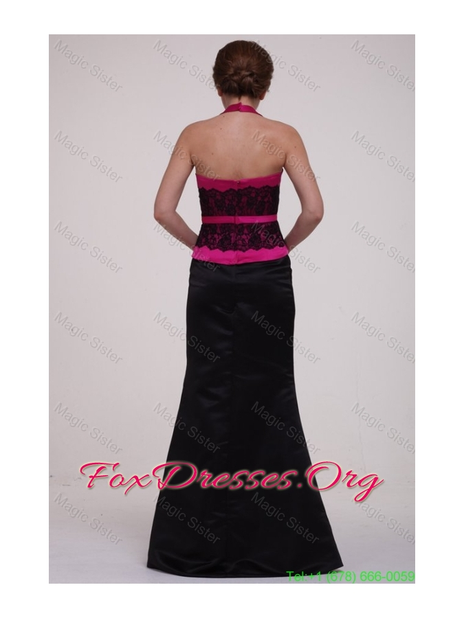 Column Hot Pink and Black Lace Satin Halter Top Mother of the Bride Dress