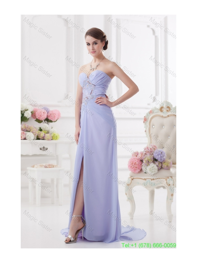 2016 Spring Sweetheart Brush Train Lavender Prom Dress with Ruching and Beading