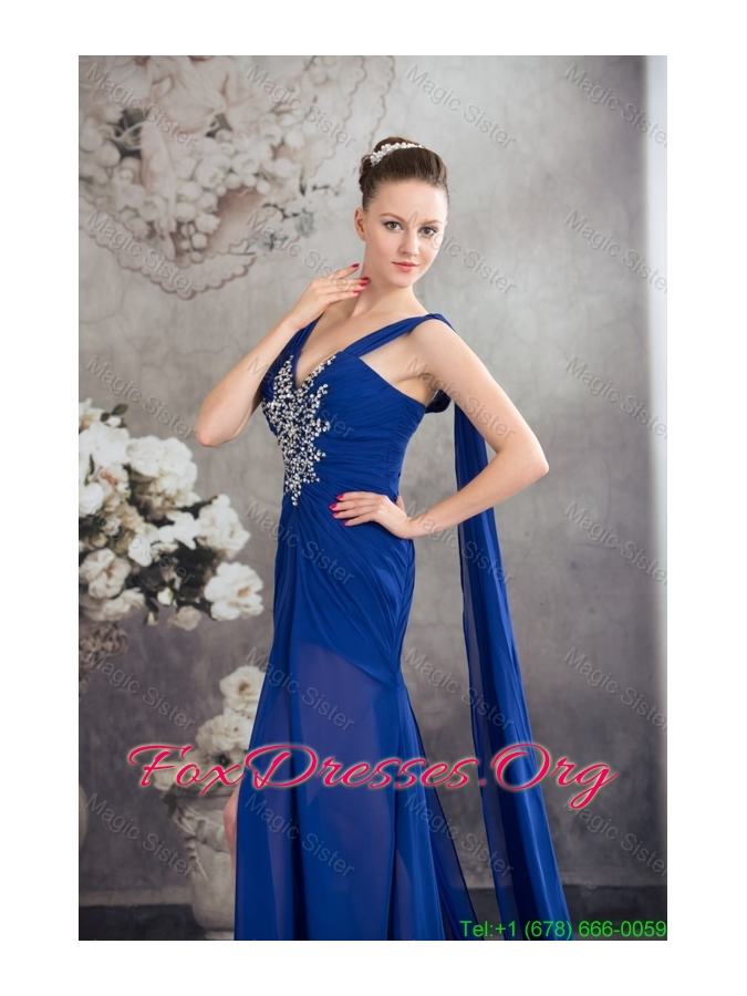 Beaded and Ruched Royal Blue Mother of the Bride Formal Dress with Watteau Train