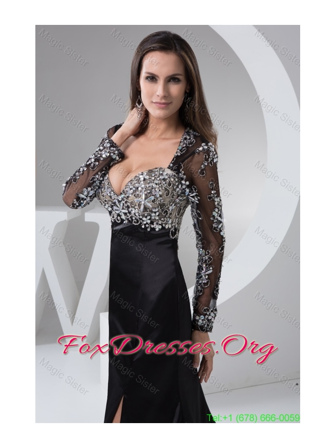 Beaded and High Slitted Black Mother of the Bride Dress with Long Sleeves
