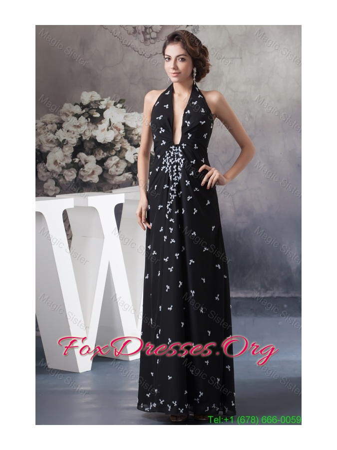 Beaded Black Halter Long Mother of the Bride Dress with Plunging Neck