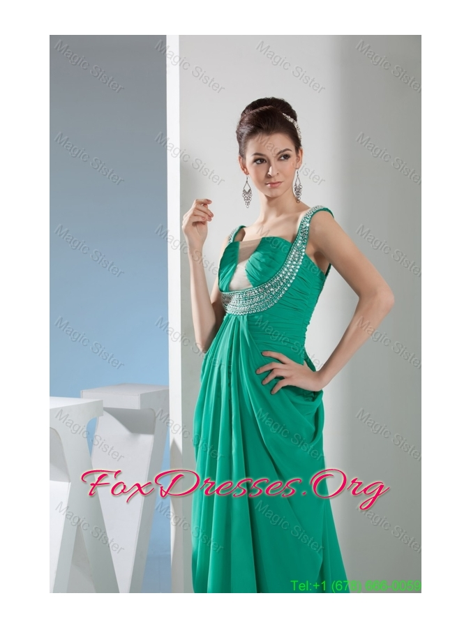 Beautiful Sweep Train Green Mother of the Bride Dress with Ruching and Beading
