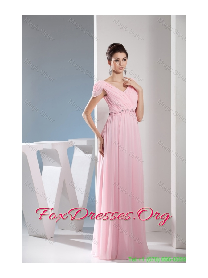 Empire Light Pink V-neck Beading and Ruching Long Mother of the Bride Dresses