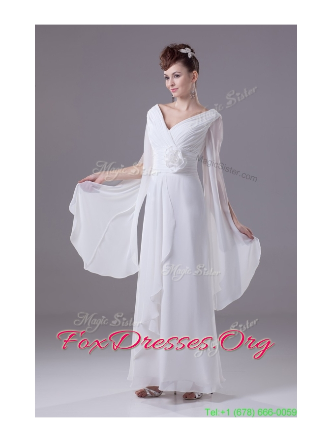 Neck Handle Flowers White Chiffon Wedding Dress with Long Slit Sleeves