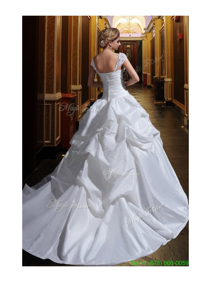 Puffy Wide Straps Wedding Dress with Appliques and Ruffles