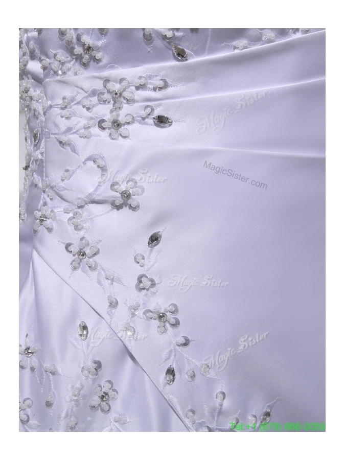 2016  Summer Discount A line Square Beading and Appliques Wedding Dress