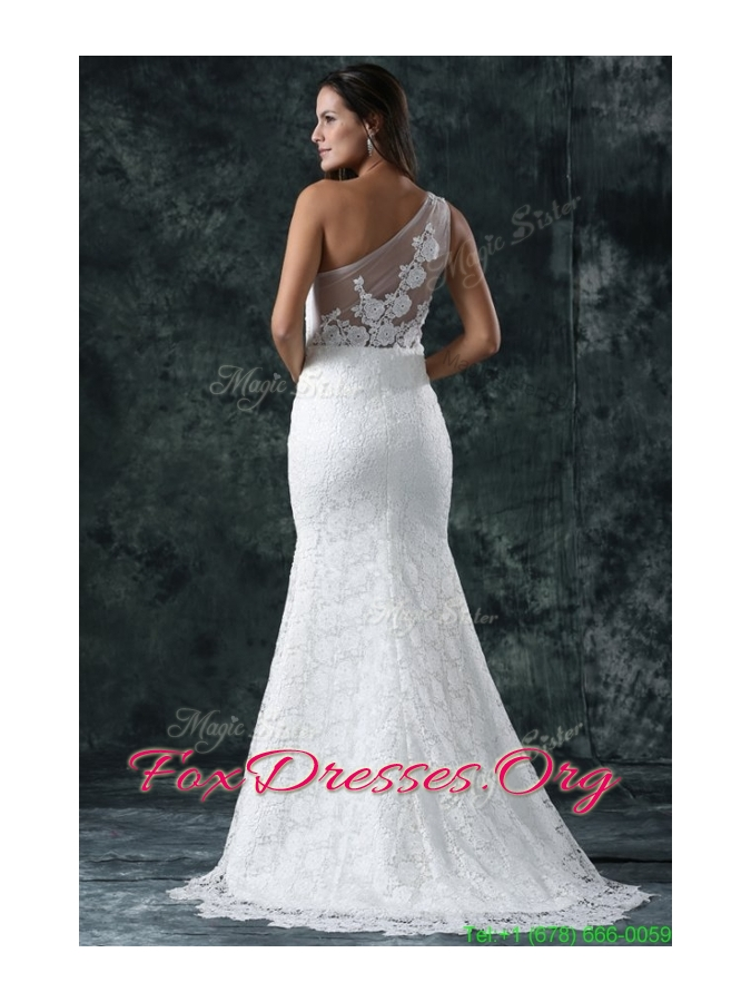 Spring Mermaid Embroidery One Shoulder Lace Sweep Train Wedding Dress