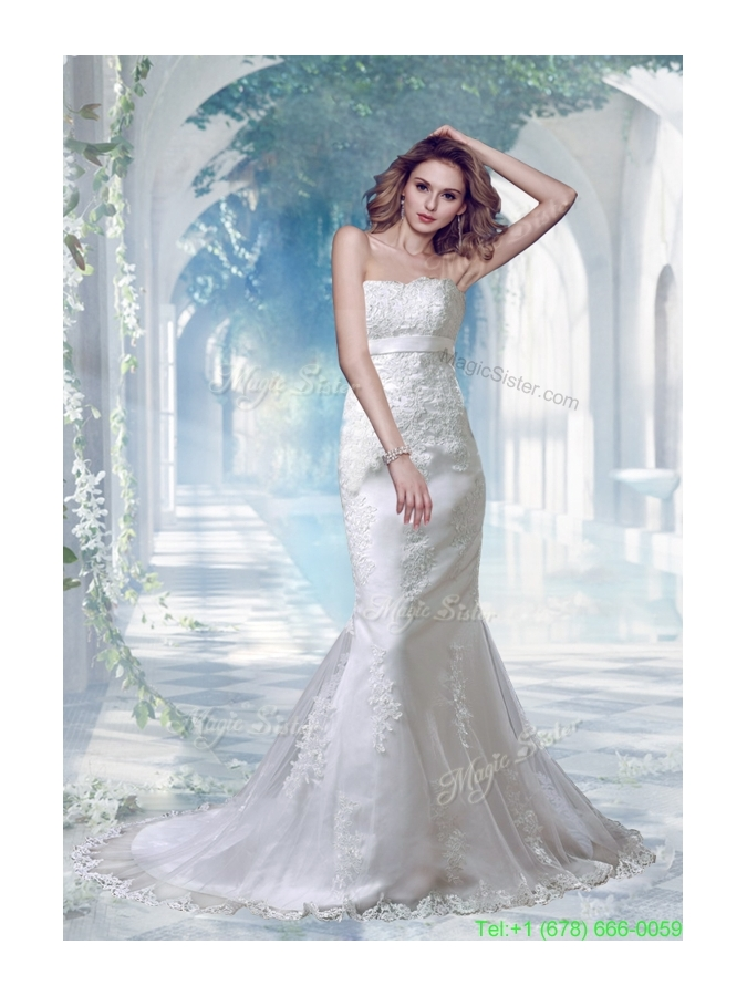 2016 Winter Elegant Mermaid Strapless Appliques Lace Wedding Dresses