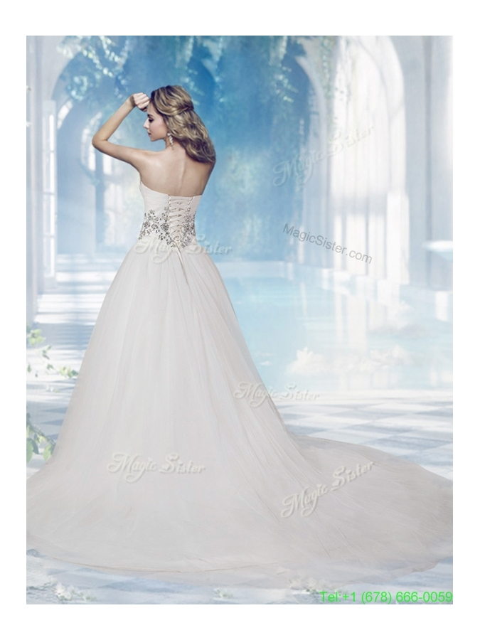 Elegant Sweetheart Chapel Train A Line Wedding Gowns with Beading